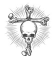 human skull on cross made bones tattoo vector image vector image