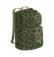 Hunting backpack icon cartoon style
