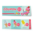 ice cream coupon discount template flat design vector image