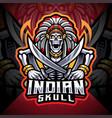 indian skull esport mascot logo vector image