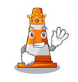 king on traffic cone against mascot argaet vector image vector image