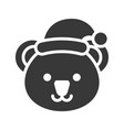 koala wearing santa hat silhouette icon design vector image