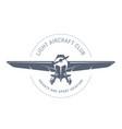 light aviation emblem with biplane vintage vector image