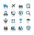 Logistics and shipping icons reflection vector image vector image