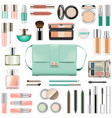 makeup cosmetics with mint green handbag vector image vector image