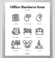 office business icons line pack vector image vector image