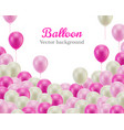 pink white balls down frame white background vector image vector image