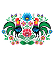 Polish floral embroidery with cocks pattern vector image vector image