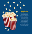 realistic detailed 3d popcorn snack card vector image