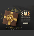 sale shop background with confetti gift box vector image vector image