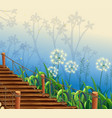 scene with grass and wooden bridge vector image vector image