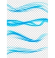 set abstract blue wave set on transparent vector image vector image