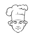 Smiling chef with a tall toque vector image vector image