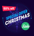 special offer christmas sale 50 off holiday sale vector image