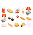 street food icons set vector image vector image