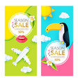 summer sale layout design template set paper art vector image