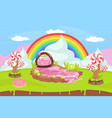 sweet candy land fantasy landscape with rainbow vector image vector image