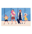 travel family going to summer vacation together vector image vector image
