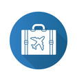 travel luggage suitcase flat linear long shadow vector image