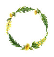 watercolor hand painted wreath with meadow vector image vector image