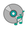 white background with music compact disc vector image vector image