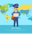 world delivery banner with postman mailman in vector image vector image