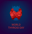 world thyroid day poster with thyroid gland icon vector image vector image