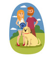 young couple family resting summer happy lifestyle vector image vector image