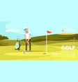 young man holding golf club trying to hit ball vector image vector image