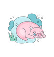 lovely with sleepy pink pig against vector image