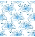 Light blue lily floral seamless pattern vector image