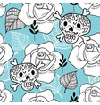 endless background with sugar skulls and roses vector image
