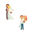 newlywed couple set isolated vector image