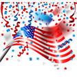 american flag with confetti for independence day vector image