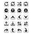 Arrow button sets isolated on white vector image vector image