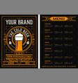 beer menu vintage style vector image