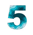 blue number five vector image vector image