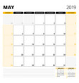 calendar planner for may 2019 stationery design vector image vector image