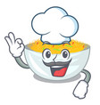 chef fried noodles isolated with character vector image