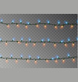 christmas lights string isolated realistic garlan vector image vector image