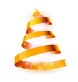 christmas tree made golden ribbon background vector image vector image