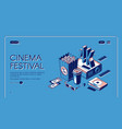 cinema festival movie time entertainment banner vector image vector image