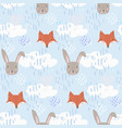 cute cartoon pattern with fox hare and clouds vector image vector image
