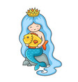 cute little mermaid with long blue hair sitting vector image
