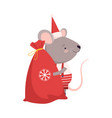 cute mouse with big sack christmas gifts cute vector image vector image