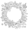 doodle flowers round vector image vector image