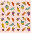 doodle pattern colorful autumn leaves and acorns vector image vector image