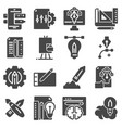 flat gray creative process icons set vector image