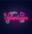 glowing neon happy valentines day text with heart vector image vector image