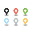 gps pointer colorful icon set vector image vector image